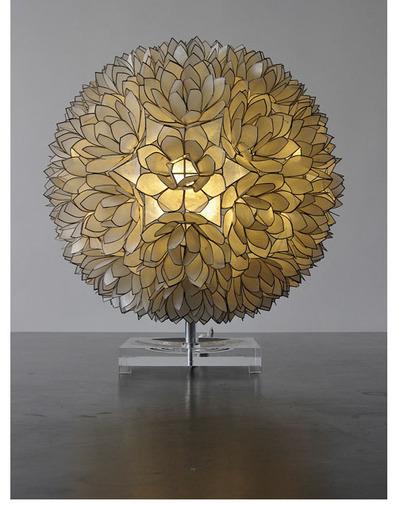 70u0027s Pearl Lotus Table Lamp.